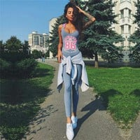Gray Gym Sports Yoga Set Women Gym Clothes Ladies Workout Playsuit Exercise Sport Top Running Sportswear Yoga Jumpsuit