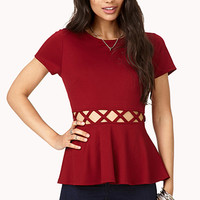 Forget Me Not Cutout Peplum Top | FOREVER 21 - 2000074380