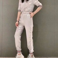 Woman's Leisure  Fashion Letter Printing Zipper Spell Color Stripe Long Sleeve Trousers Two-Piece Set Casual Wear