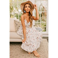 Touch Of Grace Floral Surplice Maxi Dress (Ivory)