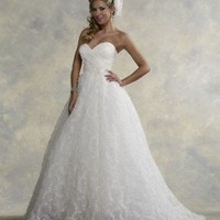 Lace Strapless Sweetheart Neckline and Skirt with Chapel Train 2012 Wedding Dress - Basadress.com