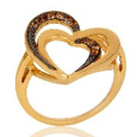 Spessartite 18K Gold Plated Heart Shape Sterling Silver Ring Love Jewelry
