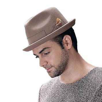 Retro Wide Brim Vintage Wool Felt Fedora Jazz Hat