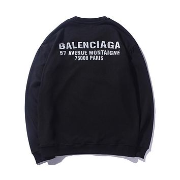 Balenciaga Women's Logo Letter Print Long Sleeve Hoodie Turtleneck Sweater F-A-KSFZ black