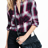Studded Shoulder Berry Plaid Oversized Shirt from EXPRESS