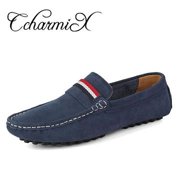 Men Suede Leather Shoes Men Casual Driving Shoes Leather Spring Dress Flat Oxford Shoe