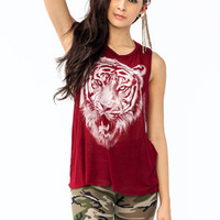 graphic-tiger-tank BURGUNDY - GoJane.com