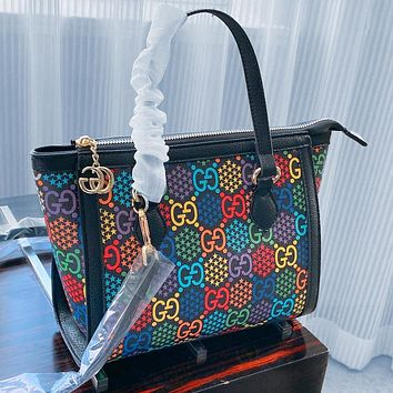 Gucci 2020 New Jumping Candy Series Shoulder Double G Hand Stitch Top Bag Black