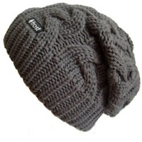 Frost Hats Winter Hat for Women CHARCOAL Slouchy Beanie Cable Hat Knitted Winter Hat Frost Hats One Size Charcoal