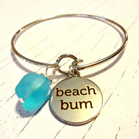 Beach Bum Bangle Bracelet, Wire Wrapped Sea Glass Jewelry, Beach Charm Bangle, Stackable Bracelet, Trendy Jewelry, Gift For Beach Babe