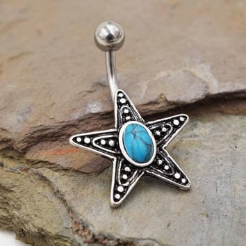 Turquoise Starfish Belly Button Ring