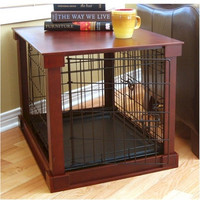 Dog Crate With Wooden Cover - Small