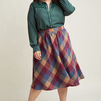 Sunday Sojourn Midi Skirt in Warm Plaid