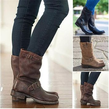Women's Mid Calf Motorcycle Boots Punk Low Heels