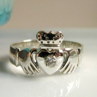 Claddagh Irish Diamond Ring Diamond on 925 by 360Diamonds on Etsy