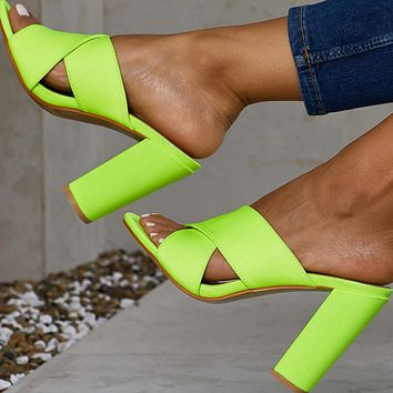 Platform Bright Color Leatherr High Heel Sandals