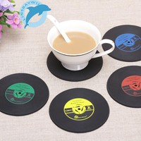 Retro Vinyl Drinks Coasters Table Cup Mat Home Creative Decor CD Record Coffee Drink Placemat Tableware Spinning