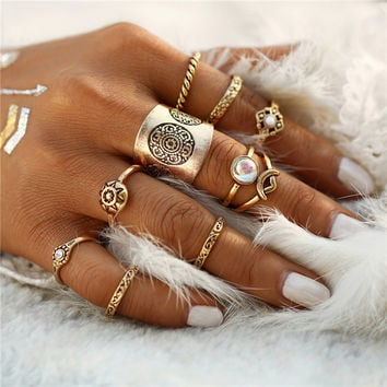 2017 9pcs/set Vintage Turkish Flower Pattern Resin Midi Ring for Women Punk Fashion Boho Men Rings Set Anillos Gift  0527