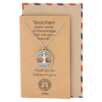 Amiyah Tree of Life Pendant Necklace Gifts for Mom and Teachers with Greeting Card