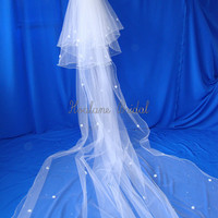 Wedding Veil Cathedral Veil detachable from Short by Hoalanebridal