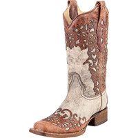 Women's Corral Boot Sand & Cognac Laser Overlay 13in Top Cowgirl Boots