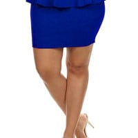 Peplum Solid Color Miniskirt.- Blue -  Plus Size - 1X - 2X