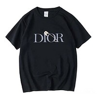 Dior Summer Fashionable Couple Casual Print Short Sleeve T-Shirt Top Black