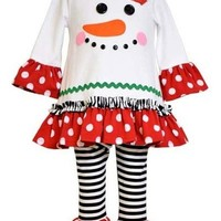 Bonnie Jean-Red Polka Dot Ruffle Snowman Legging Set
