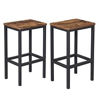 VASAGLE ALINRU Bar Stools, Set of 2 Bar Chairs, Kitchen Breakfast Bar Stools with Footrest, Industrial in Living Room, Party Room, Rustic Brown ULBC65X