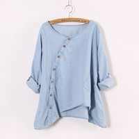 Women Shirt Slant Oblique Button  Roll Up Sleeve Wash