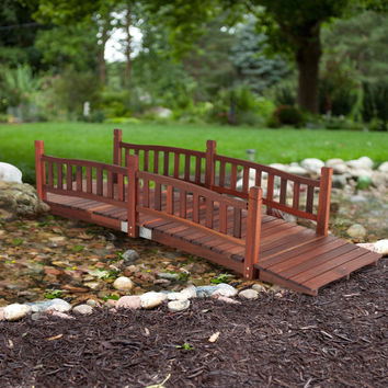 Durable 8-Ft Garden Bridge with Hand Rails in Red Shorea Wood Outdoor
