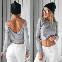 Stylish Ladies Women Sexy Long Sleeve Backless Solid Casual Crop Tops Blouse