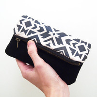 Pouch Tribal navajo Zipper black and dark grey print fold over zip clutch suede fabric ethnic handpainted pattern