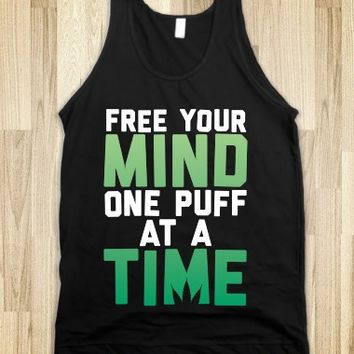 Free Your Mind, One Puff At A Time-Unisex Black Tank