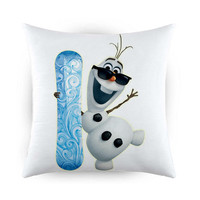 Olaf and Snowboarding Decorative Pillow