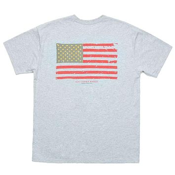 Vintage Flag Tee Shirt in Light Gray by Southern Marsh