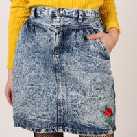 80's Acid Wash High Waisted Skirt w/ Patch