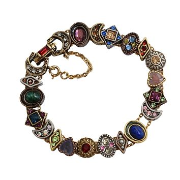 Romantic Victorian Style Charm Bracelet Gold Silver Bronze Plated 19 Jeweled Charms