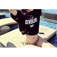 Givenchy Popular Women Letter Print Short Sleeve Round Collar T-Shirt Top I