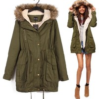 Cotton Stylish Winter Green Thicken Jacket [61751033881]