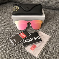 Ray-Ban Blaze Clubmaster Pink Mirror Sunglasses