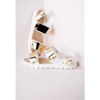 Double Strap Gladiator Sandal White - Shoes - Sandals - Missguided