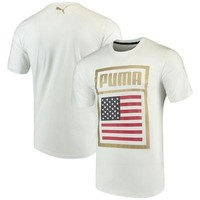 Licensed Sports USMNT Puma Forever Football Country Cotton T-Shirt - White KO_20_2