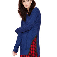 Blue Cable Knit with Side Zip Sweater