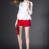 Strapless Half Sleeve Ruffled Top with Shorts Set