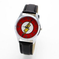 children pretty The Flash cartoon lovely watch Best fashion casual simple quartz round leather watches