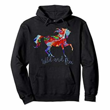 OLena Art Colorful Horese Design Wild and Free Pullover