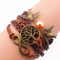 ACUNION™ Handmade Fashion Infinity Birds Swallow Tree for Life Charm Friendship Gift - Braid Suede Personalized Leather Bracelet