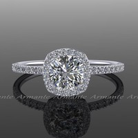 Halo Diamond Moissanite Engagement Ring Cushion Cut Ring