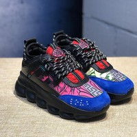 DCCK V002 Versace Fashion Breathable Height Increasing Shoes Black Blue Pink Red